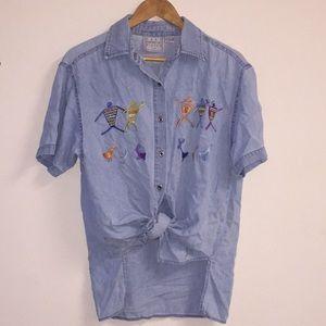 Tops - Vintage Denim Button Down Shirt LARGE